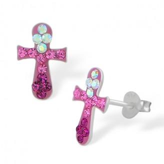 """Stříbrné náušnice s krystaly """"Růžový křížek"""". Ag 925/1000"""
